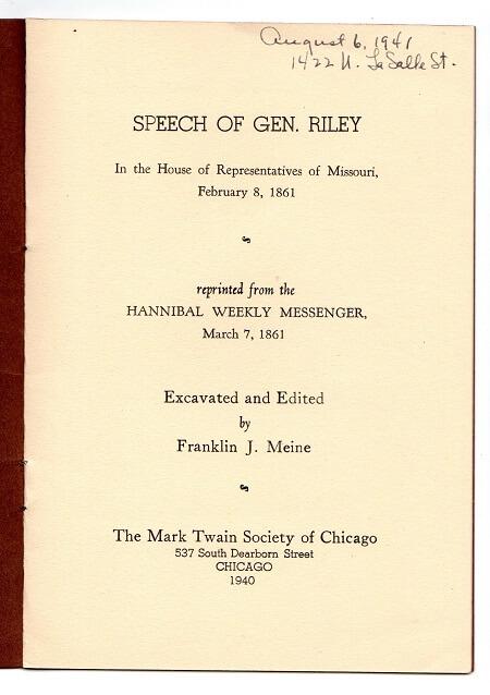 Speech of General Riley