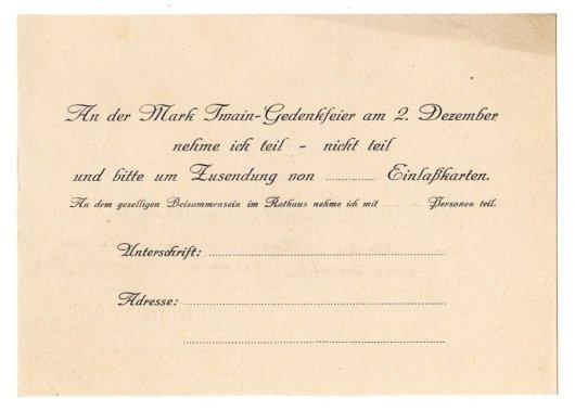 German Invitation to Mark Twain Celebration