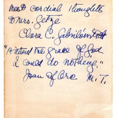 Clara Clemens Gabrilowitsch Signed Note