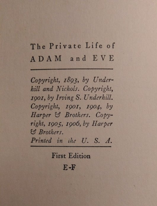 Mark Twain - Adam and Eve - copyright page