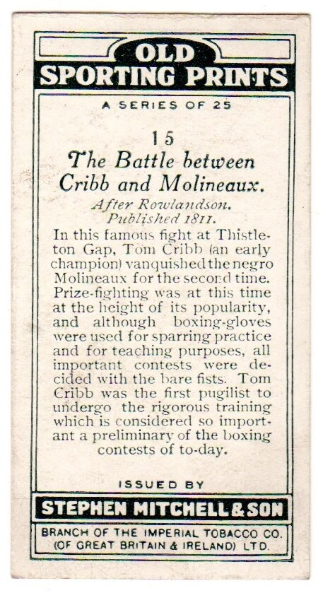 Cribb vs Molineaux - tobacco card