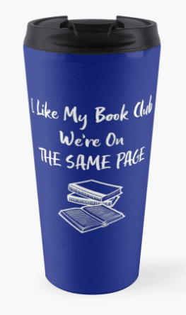I like my book club, we're on the same page travel mug