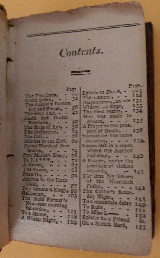 Robert Burns contents